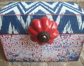 Red White and Blue Wood Recipe Box