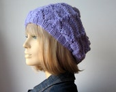 Hand Knit Hat, Lavender Lace Slouchy Hat, The Beverly Hat, Vegan Knits, Womens Accessories, Lilac Hat, Lilac Slouchy Hat