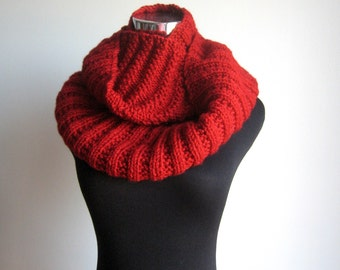 Cranberry Red Cowl Scarf, Red Knit Infinity Scarf, Womens Accessories, Red Knit Circle Scarf, Knit Fall Fashion, Winter Accessories