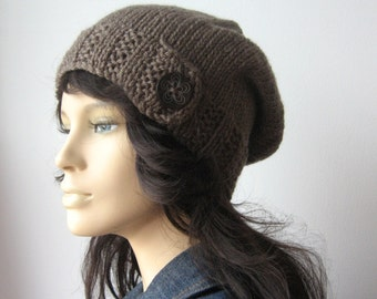 Taupe Hat, Wood Button Tab Beanie, Hand Knit Hat, Taupe Slouchy Hat, Winter Hat, Taupe Slouchy Beanie