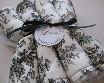 """Burp Cloth Set of 4 """"Francis Jarden"""" French Toile Black White Girly Neutral Baby"""