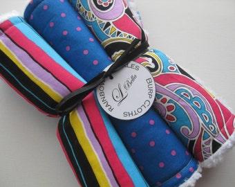 "Baby Burp Cloth Set of 3 ""Rainbow Sprinkles"" Pastel Colors Paisley Damask Fabrics Girl"