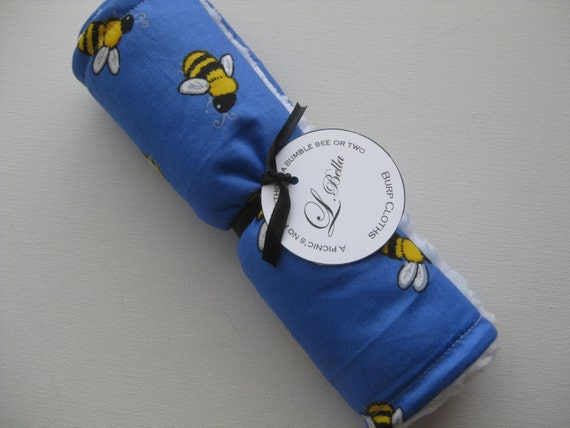 """Baby Burp Cloth Single """"A Picnic's No Fun Without a Bumble Bee or Two"""" Gender Neutral Boy Girl"""