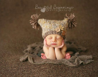 Flat Top Knit Sack Boy Hat Infant PomPom Jester Fall Newborn Cap Going Home Beanie Neutral Photo Prop Baby Organic Autumn Coming Home Outfit