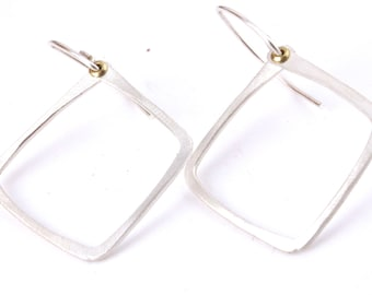 Square Earrings Hammered Riveted Square Earrings Sterling Silver or Brass