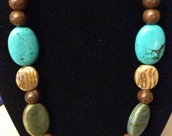 Necklace - Turquoise and Brown Porcelain 3