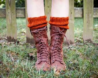 READY TO SHIP - Knitted Boot Cuffs, Boot Toppers in Burnt Orange Wool