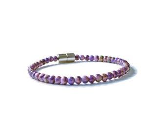 Purple Picasso Magnetic Hematite Bracelet, Health Jewelry, Pain Relief