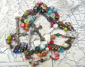 sideways cross necklace catholic assemblage multi strand upcycle