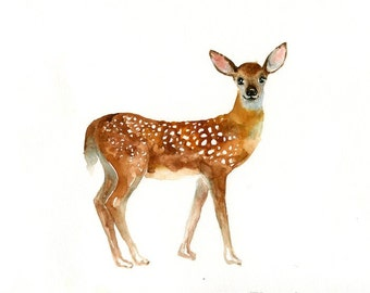 FAWN Original watercolor painting 10x8inch