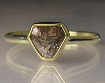 Rose Cut Diamond Slice Engagement Ring - 14k and 18k Gold