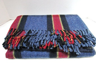 Vintage Plaid Wool Stadium Blanket, Camp Cabin Lodge Decor Tartan All Wool Classic Warmth College Football Tailgate Blue Red Large Heavy