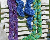Chunky, Bumpy, and Soft Chenille Scarves in purple, blue, and green