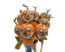 Halloween Toothy Grin Punkin' Heads | Handcrafted Hand Painted Jack-O-Lantern Decor
