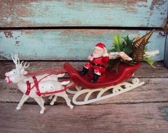 Vintage Christmas Santa Claus Sleigh and Reindeer Deer Decoration Retro Large Antlers White Deer