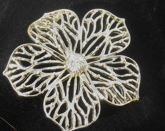 Vintage 1950s Golden Floral Pin by Gerrys Mid Century Flower Costume Jewelry Accessory