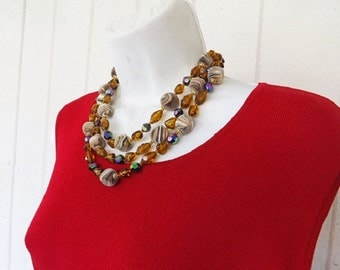 Vintage Beaded Necklace and Earring, Demi Jewelry Set, Art Glass Beads, Costume Jewelry, Jewelry Accessories, Clip Earrings