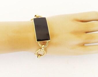 Vintage Bracelet, Napier Bracelet, Napier Jewelry, Costume Jewelry, Link Bracelet, Black Bracelet, Designer Jewelry, SIgned Jewelry