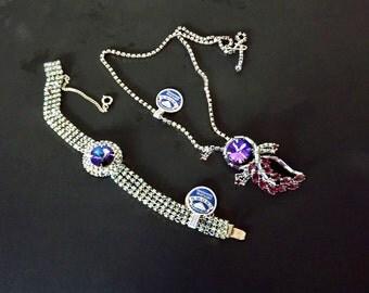 Vintage Necklace Bracelet Jewelry Set, Crown Jewelry, Original Tag, Formal Dressy Jewelry, Wedding, Bridal Jewelry, Formal Necklace