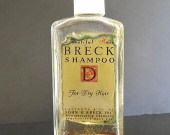 Vintage Breck Shampoo Bottle, Signed Bottle, Retro 1960, Collectible Bottle, Vintage Advertising Ephemera, Cosmetic and Shampoo Supplies
