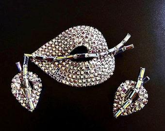 Vintage Brooch and Earring Jewelry Set, Red Rhinestone Brooch, AB Aurora Borealis Rhinestones, Costume Jewelry, Demi Parure Set, Jewelry Set