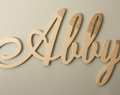 "UNPAINTED Large Wooden Script Name or Word - 12"" Wood Name Nursery Baby Child - Elegant Script Font"