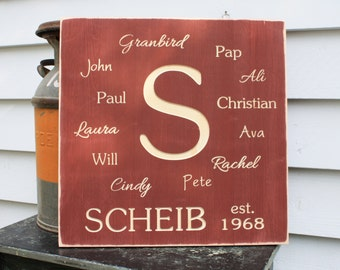 Family Name Collage Wooden Subway Sign with Last Name - 20x20 Personalized Carved Engraved Distressed Wooden Sign