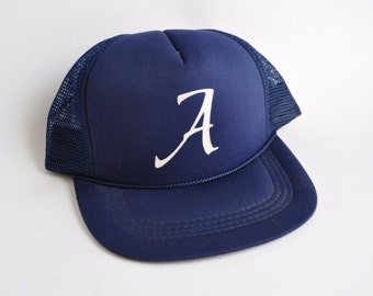 Letter A Baseball Trucker Cap Hat Vintage Navy YOUTH LADIES Size Similar to Atlanta Alabama Arizona