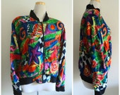 Vintage 1990's Jacket // Novelty Print Bomber Jacket // Vogue Print // Zip Up Lightweight Jacket // 90's Hip Hop