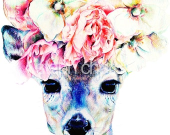 Ophelia the Deer with Flowers