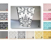 Damask  Print Square Wood Wastebasket  Your choice of damask fabric by Premier Prints and with or without bow