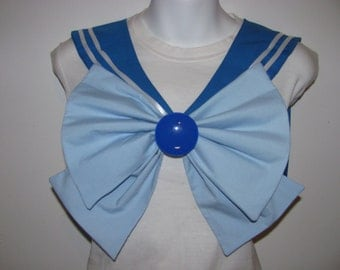 Blue Collar, Light Blue Bow and Blue Brooch Sailor Scout Mercury Cosplay Costume