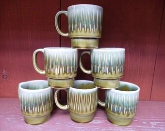 Vintage Set of 6 Avocado Green Drip Glaze Ceramic Coffee Mugs/Cups Japan