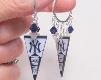 NY Yankees Earrings, Yankees Bling, The Pennant Race is On Pro Baseball Earrings, Navy Crystal Baseball Yankees Jewelry Accessory