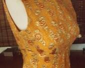 Vintage 60s Orange Sherbet Floral Damask Mini Wiggle Dress S Free Shipping