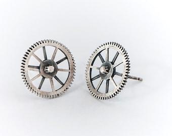 Industrial Stud-Silver Earrings For Men-Geometric Earrings-Studs For Men-Studs For Him-Geometric Studs-Industrial Design Jewelry-Mechanic-MJ