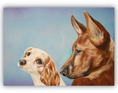 custom pets portraits TWO pets on 20x16 canvas size