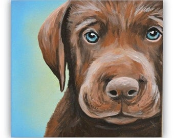 custom painted pet portrait sample 8x10 canvas acrylic chocolate lab puppy