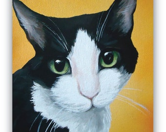 custom painted pet portrait sample 8x10 canvas Cat black and white