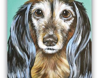 custom painted pet portrait sample on 11x14 canvas