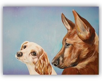 custom pets portraits TWO pets on 20x16 canvas size