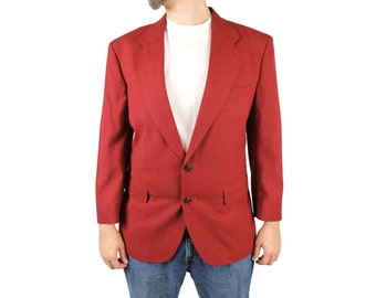 Vintage 80s Blazer 40S Dark Rust Red Sports Coat Jacket Disco Costume Wool Blend Free US Shipping