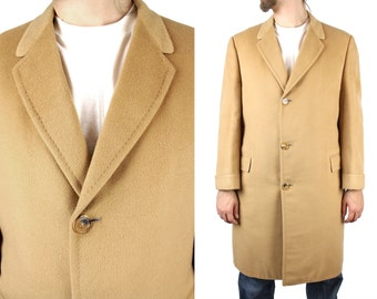 Vintage Top Coat 40R Roos Atkins 100% Cashmere Tan Overcoat Long Trench Jacket Free US Shipping