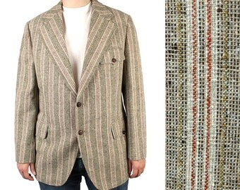 Vintage Mens Blazer 40L Brown Red Yellow Striped Wool Tweed Jacket Coat 60s 70s Free US Shipping