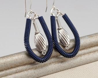 Dark Blue Earrings, Wire Wrapped Earrings, Teardrop Earrings, Blue Dangle Earrings, Navy Blue Jewelry, Cool Earrings, One of a Kind