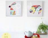 Nursery Wall Art, ANY 2 Animal Canvases Wall Art, Bright Colorful Framed Canvas, ready to hang, Nature Print, Art for Home, Living room