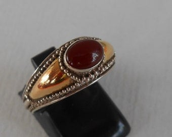 Balinese Sterling Silver gold carnelian gem ring / silver 925 / Bali handmade jewelry / unique ring only size 8.25  / silver 925