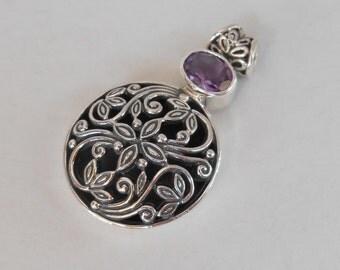 Balinese Sterling Silver Pendant Amethyst gem / silver 925 / Bali handmade jewelry / 1.6 inch long