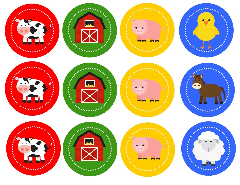 Free Printable Farm Cupcake Toppers Popular items for farm animal ...