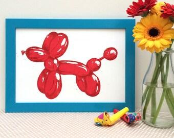Balloon Dog Linocut Print, Original lino print, wall art, Kid's bedroom art, office wall art, Party themed art,